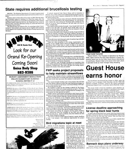 02c484d7d5 Dillon Tribune (Dillon, Mont.) 1989-current, February 25, 2004, Page 8,  Image 8 « Montana Newspapers
