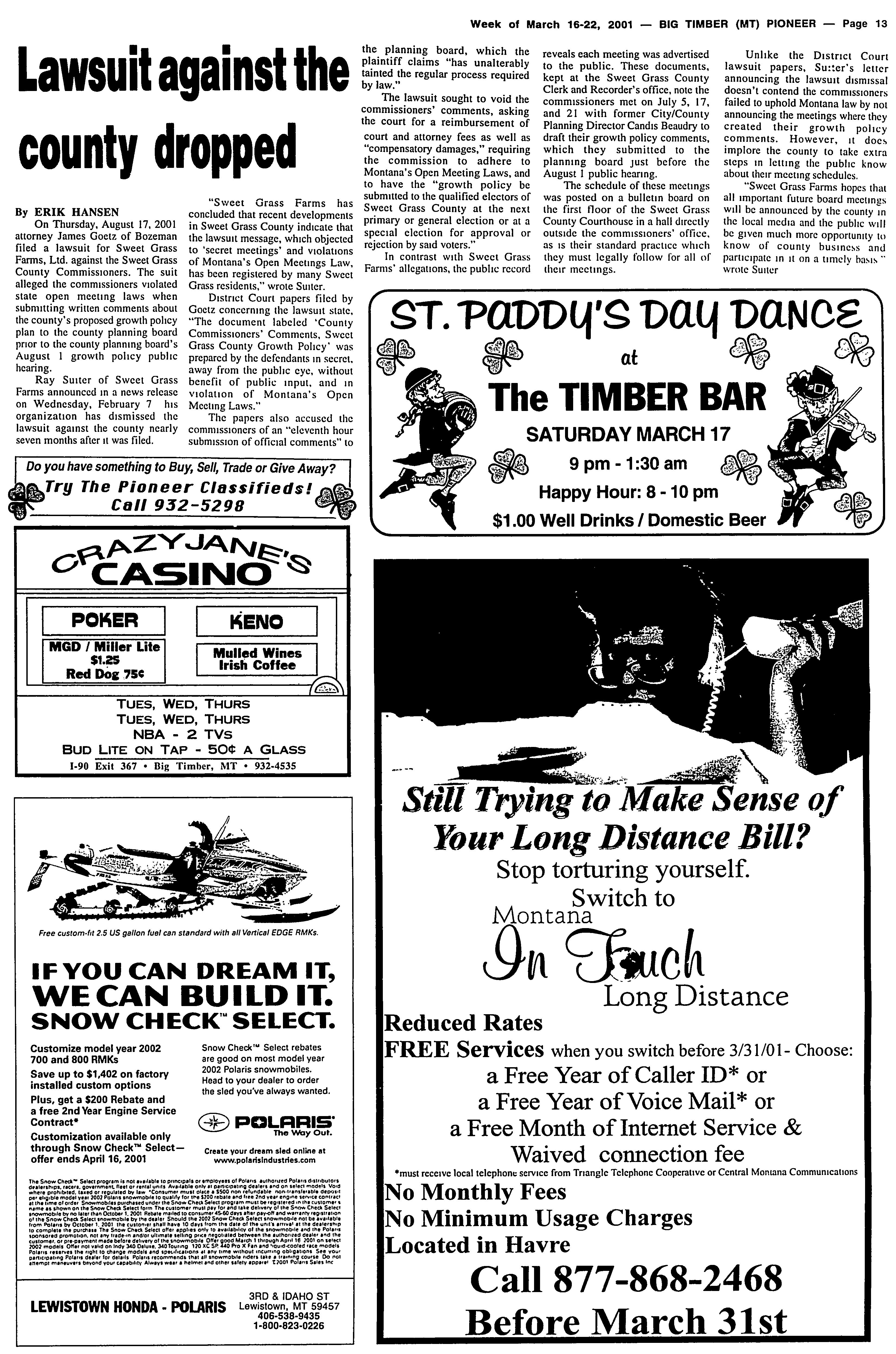 The Big Timber Pioneer (Big Timber, Mont ) 1983-current, March 16