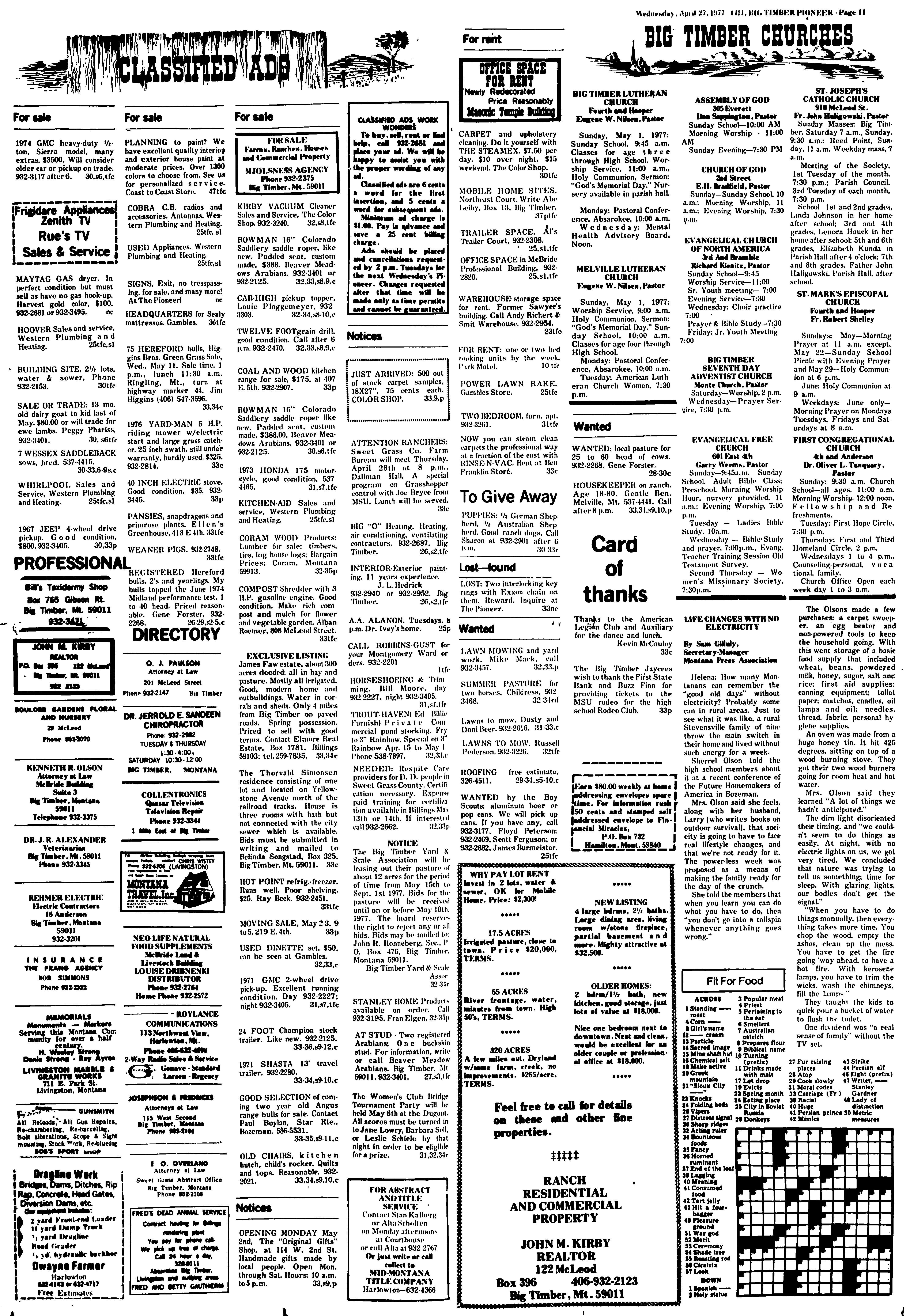 The Pioneer (Big Timber, Mont ) 1975-1982, April 27, 1977