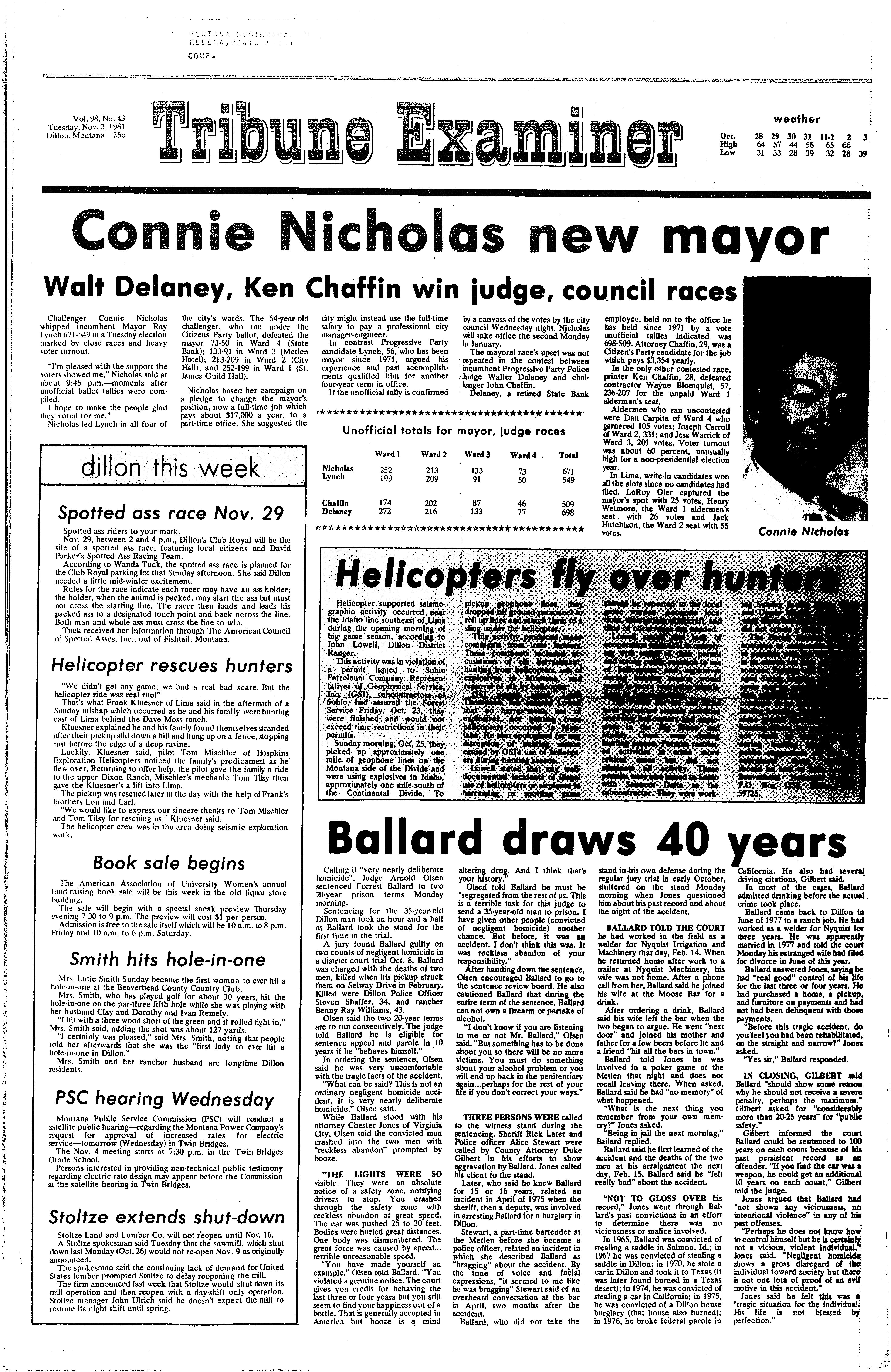 Tribune-Examiner (Dillon, Mont.) 1973-1982, November 03, 1981, Page ...