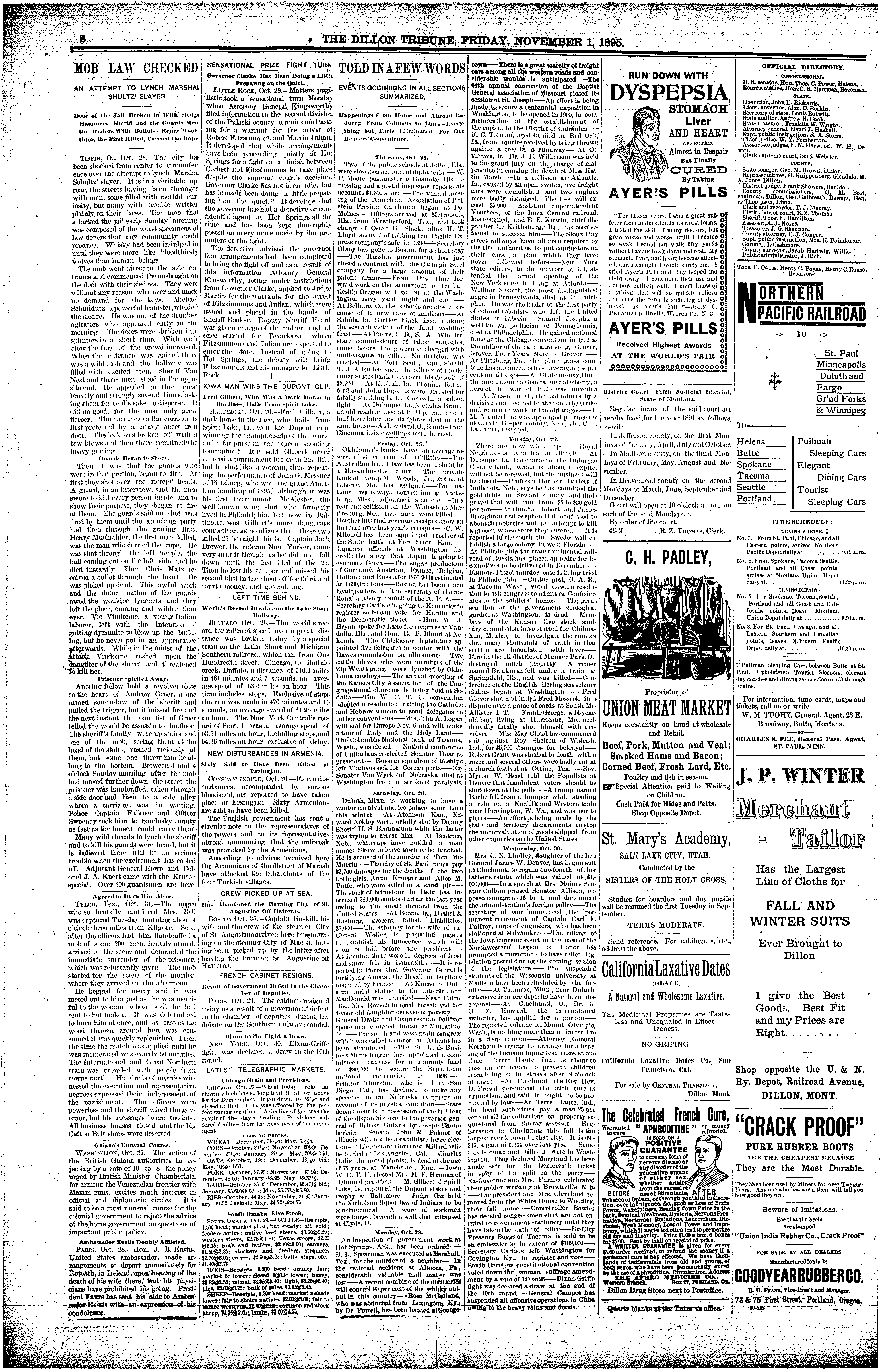 b78c360203a The Dillon Tribune (Dillon, Mont.) 1881-1941, November 01, 1895 ...