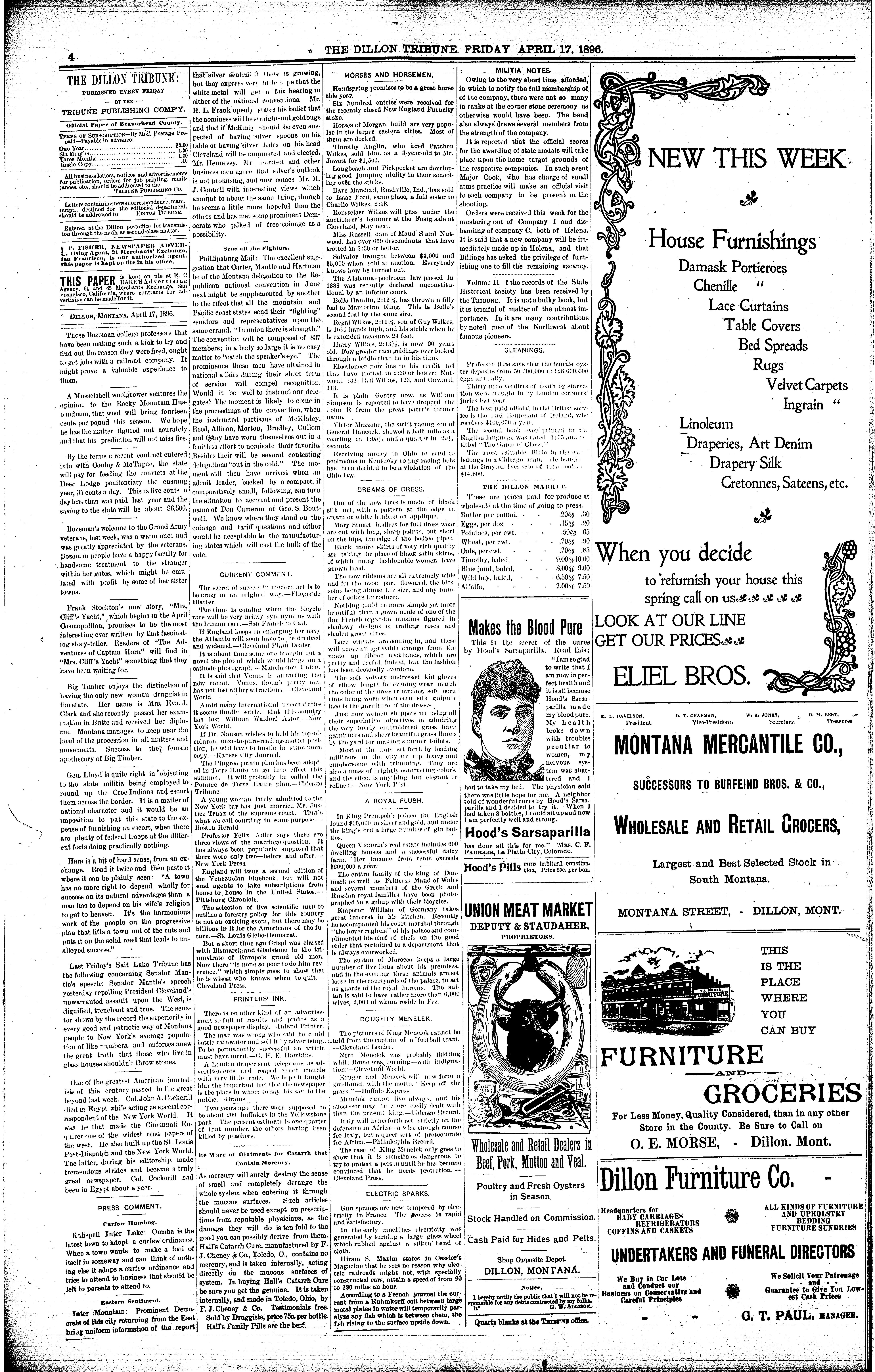 The Dillon Tribune Dillon Mont 1881 1941 April 17 1896 Page 4