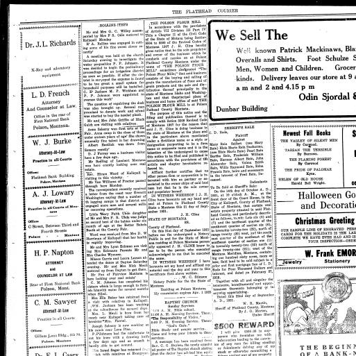 The Flathead Courier Polson Mont 1910 Current October 13 1921